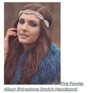 Pink Pewter Allison Rhinestone Stretch Headband